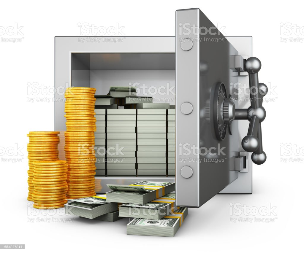 Safe with dollars stock photo