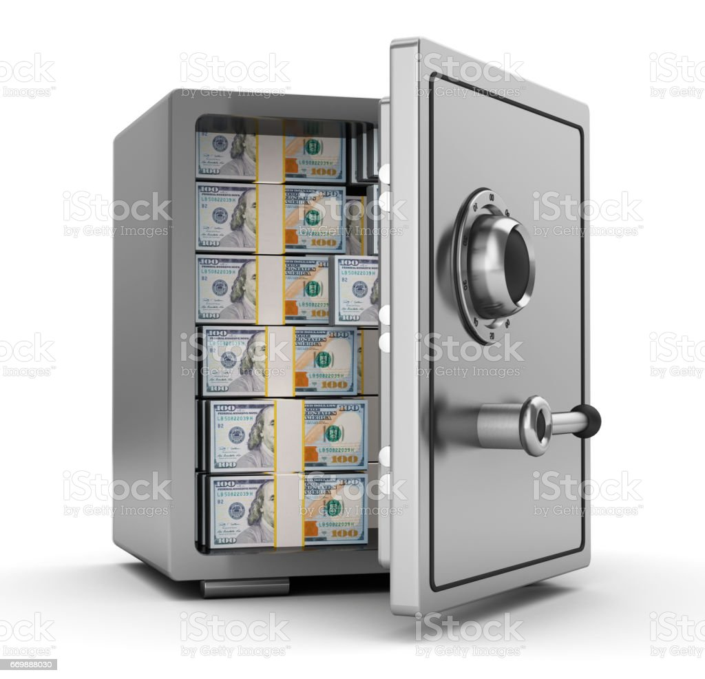 safe with money stock photo