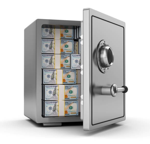 safe with money 3d illustration of steel safe full of dollars safes and vaults stock pictures, royalty-free photos & images