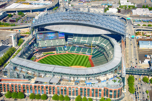 Safeco Field from Above Seattle, United States - June 6, 2016:  Safeco Field, the home of Major League Baseball's Seattle Mariners, as shot from an orbiting helicopter at an altitude of about 1000 feet on a clear summer afternoon. major league baseball stock pictures, royalty-free photos & images