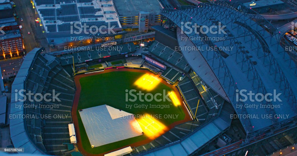 Safeco Field Retractable Roof Open Air Baseball Stadium Where Seattle Mariners Play Aerial Top Down View Empty at Night stock photo