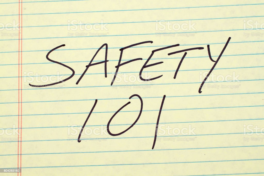 Safety 101 On A Yellow Legal Pad stock photo