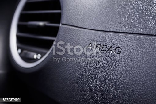 istock Safety airbag sign in the car 857237492