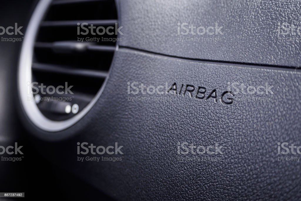 Safety airbag sign in the car stock photo