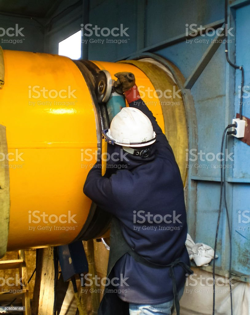 Safety at work. Welding and installation of the pipeline. Industrial weekdays welders and fitters stock photo