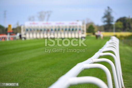 istock Safety barriers with starting gates in the background 1136083218