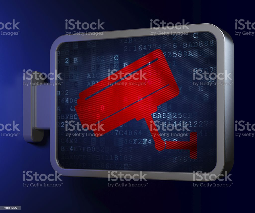 Safety concept: Cctv Camera on billboard background royalty-free stock photo