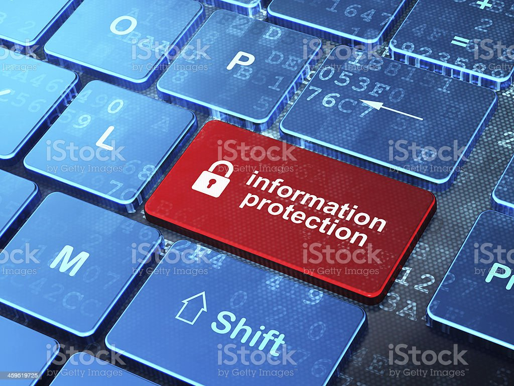 Safety concept: Closed Padlock and Information Protection on com stock photo