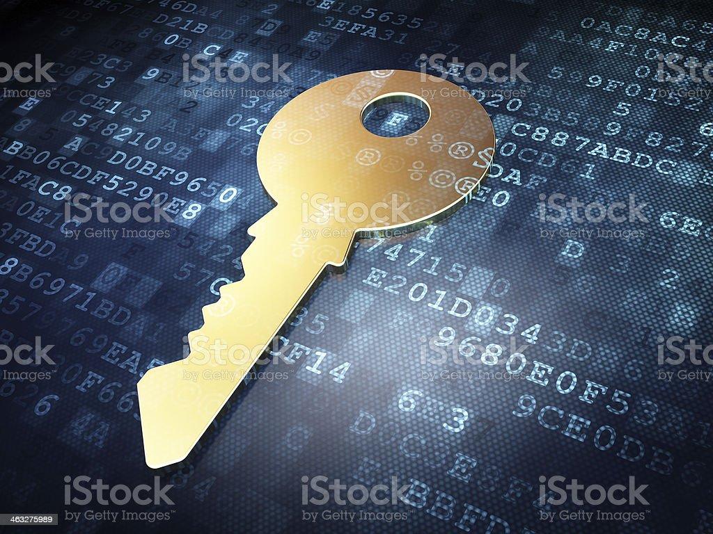 Safety concept: Golden Key on digital background stock photo