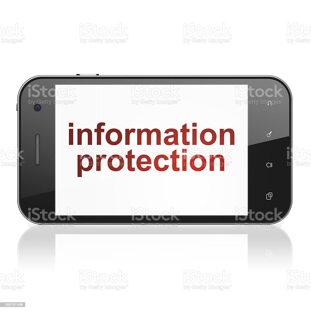 Safety concept: Information Protection on smartphone royalty-free stock photo