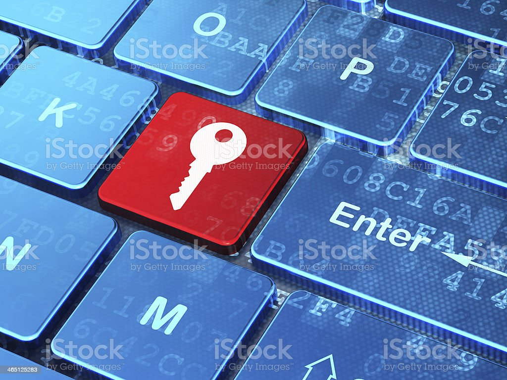 Safety concept: Key on computer keyboard background stock photo
