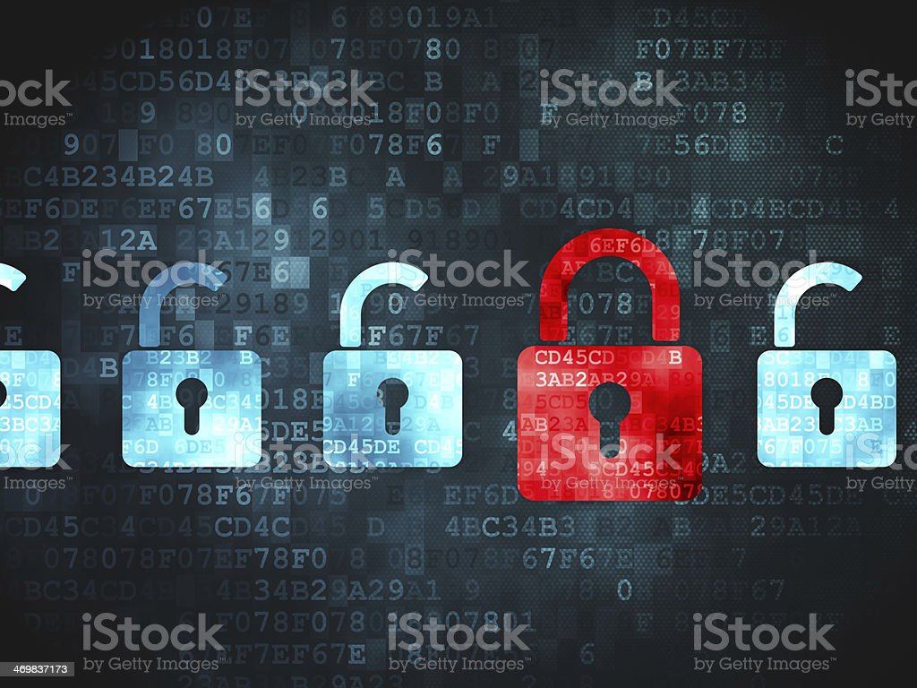 Safety concept: Locks on digital background stock photo