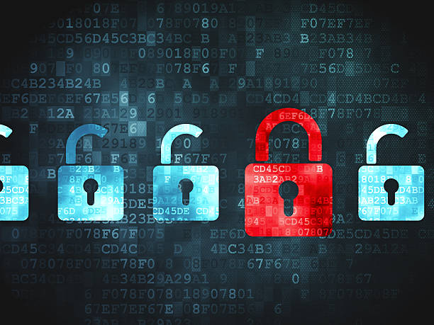 safety concept: locks on digital background - privacy policy stock photos and pictures