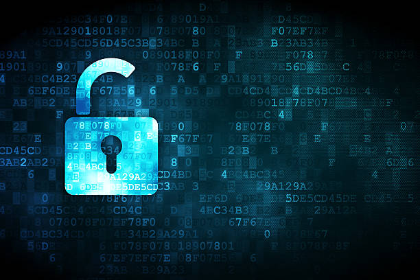 Safety concept: Opened Padlock on digital background Safety concept: pixelated Opened Padlock icon on digital background, empty copyspace for card, text, advertising, 3d render hardware raid vs software raid stock pictures, royalty-free photos & images