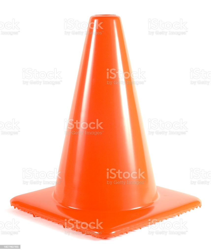 A safety cone on a white background stock photo