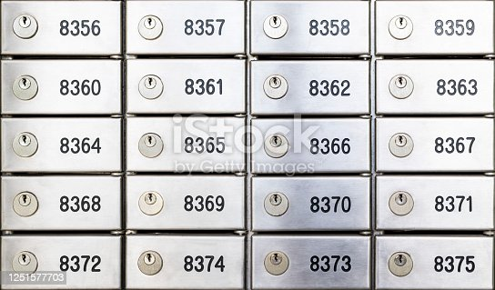 Safety deposit box wallpaper. Numerous secure safety deposit boxes with lock and number plate. Insurance banking concept.
