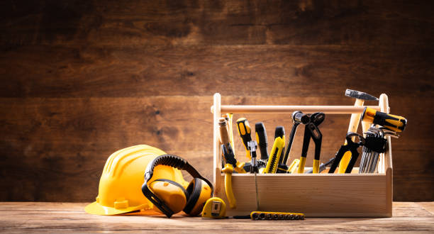 safety equipment near toolbox with various worktools - hand tool stock pictures, royalty-free photos & images