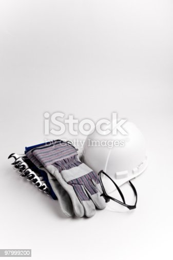 Safety Equipment Wrenches Hard Hat Glasses Gloves Mask Stock Photo & More Pictures of Color Image