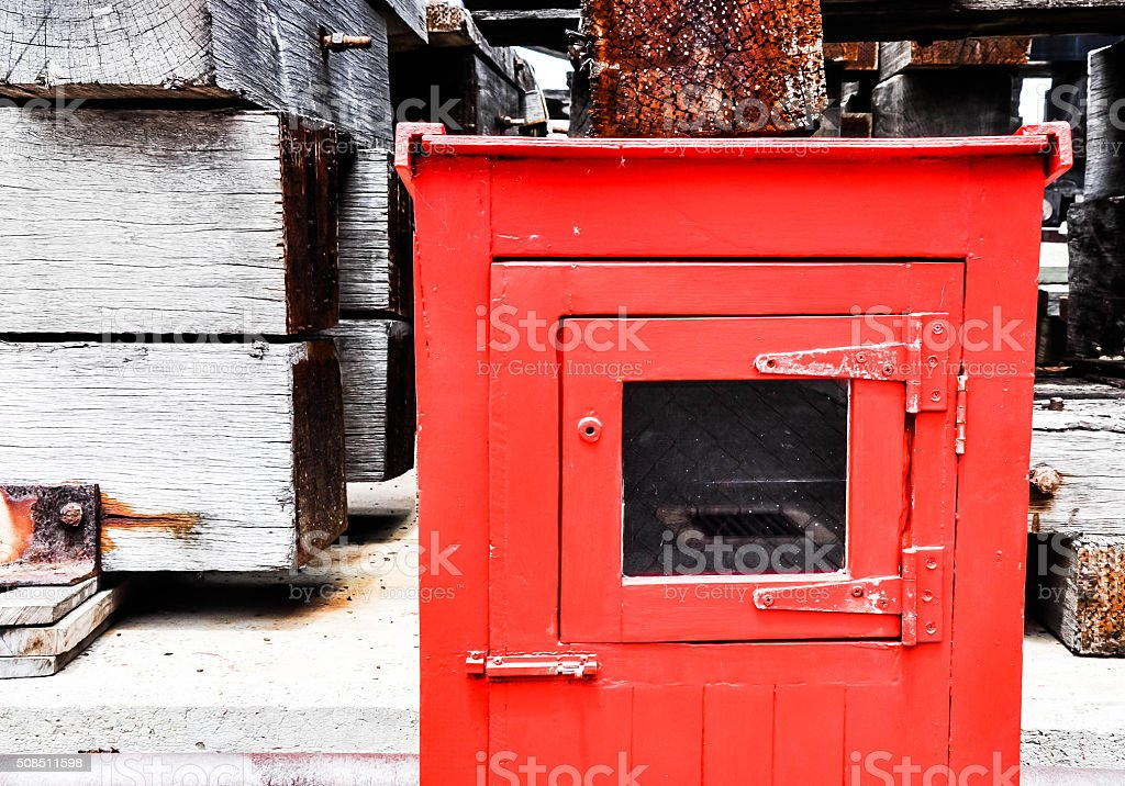 Safety: Fire Hose Reel Cabinet stock photo