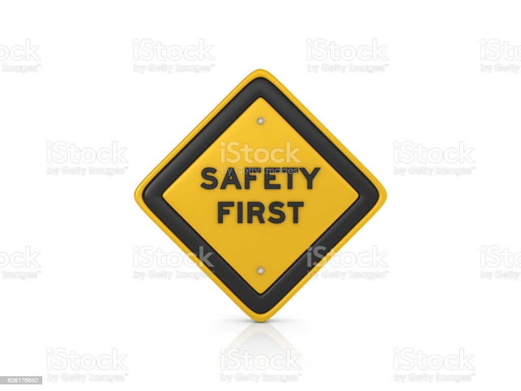 Safety First Concept Road Sign - 3D Rendering stock photo