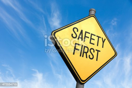 safety first road sign stock photo more pictures of. Black Bedroom Furniture Sets. Home Design Ideas