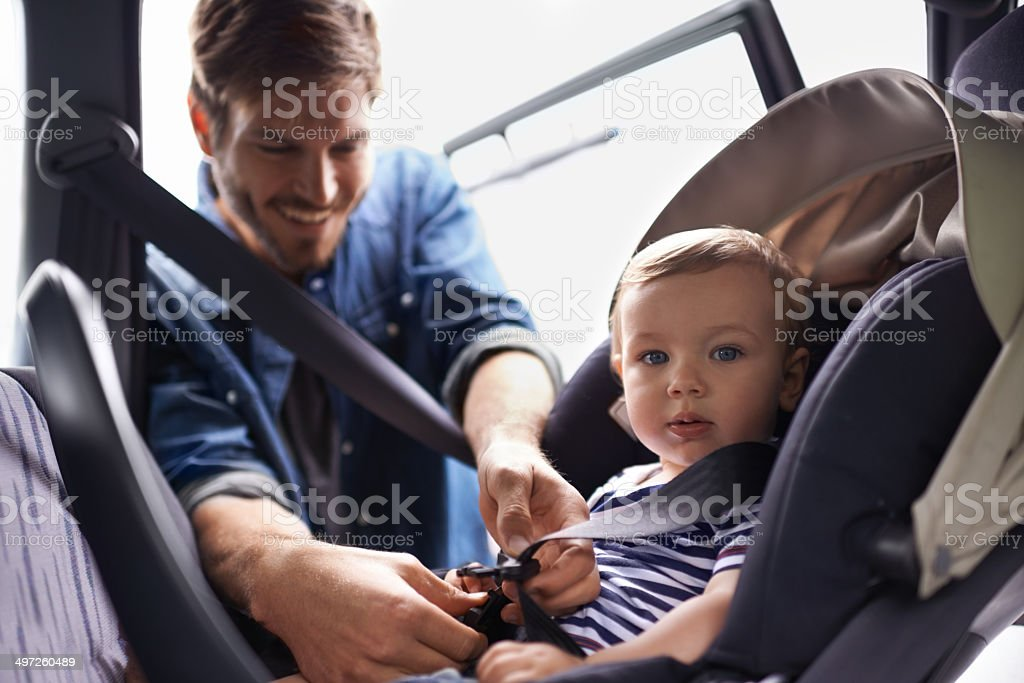 Safety first when your most precious gift is on board! stock photo
