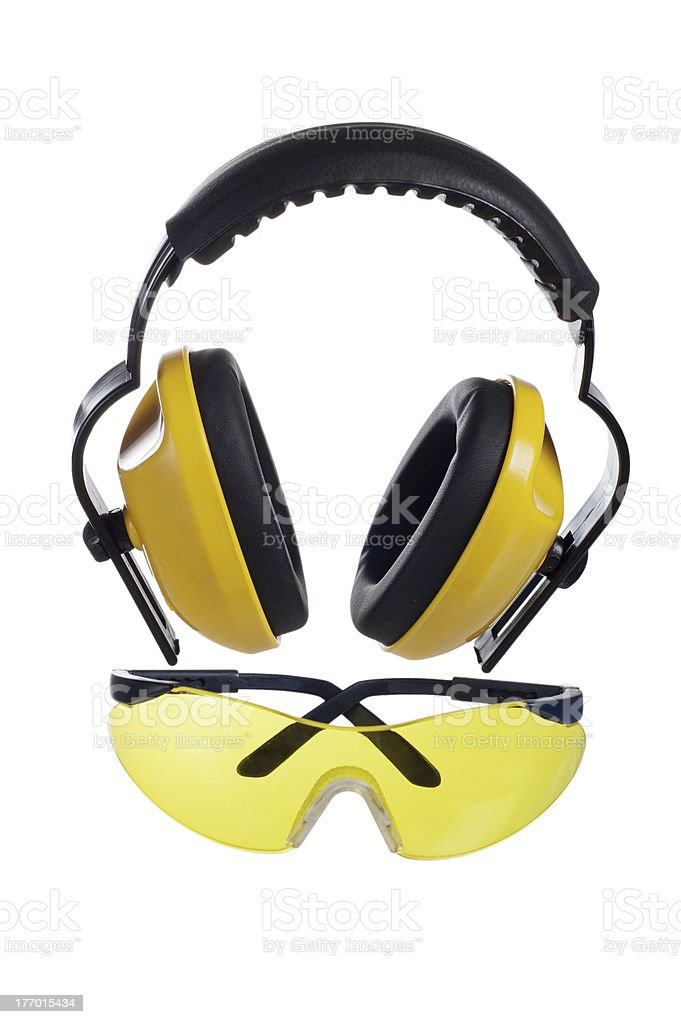 Safety gear kit close up over white royalty-free stock photo