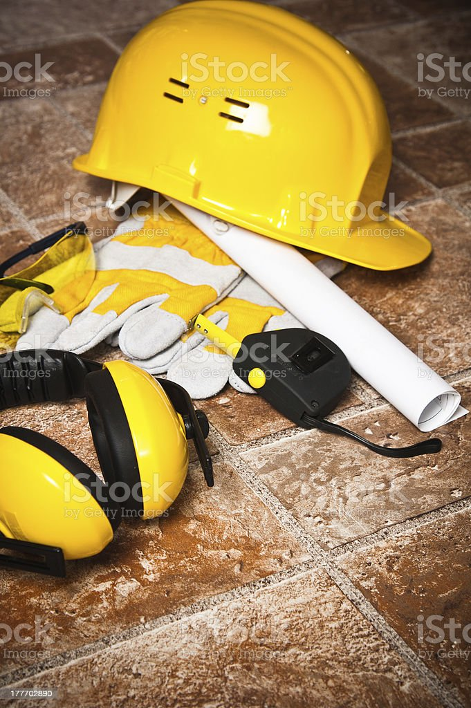 Safety gear kit close up royalty-free stock photo