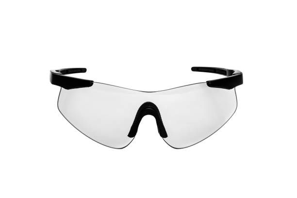 safety glasses for shooting and work isolated on white background - indumento sportivo protettivo foto e immagini stock