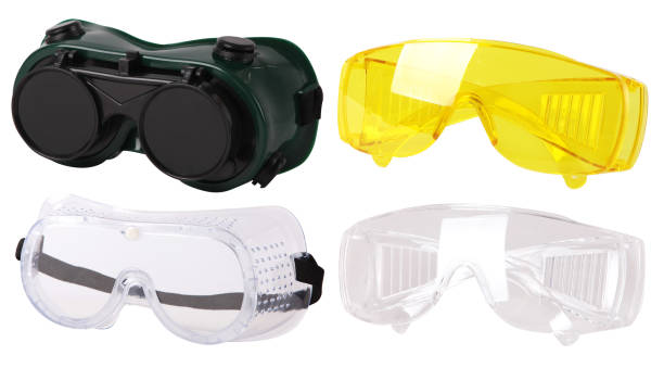 Safety glasses Collection of  protective spectacles (Safety glasses). Plastic Protective Work Glasses protective eyewear stock pictures, royalty-free photos & images
