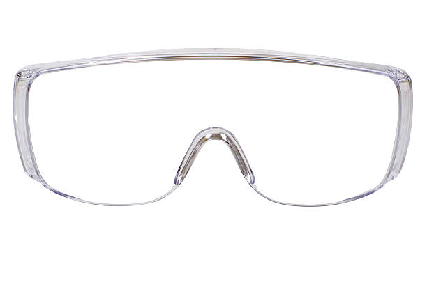 safety glasses photo gauzy protective spectacles on white background isolated, close up full face protective eyewear stock pictures, royalty-free photos & images