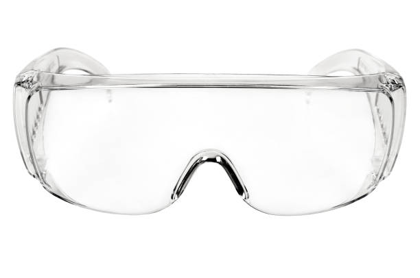 safety glasses photo white protective spectacles on white background isolated, close up full face protective eyewear stock pictures, royalty-free photos & images