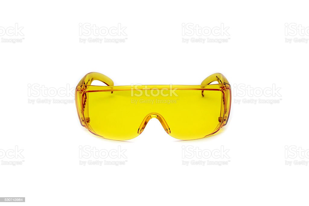 Safety glasses yellow isolated stock photo