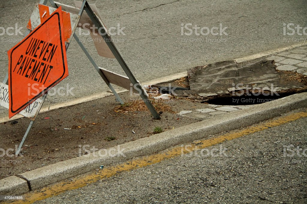 Safety Hazard on road stock photo
