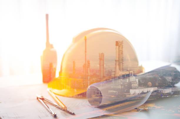 Schutzhelm für Ölraffinerie-Ingenieur – Foto