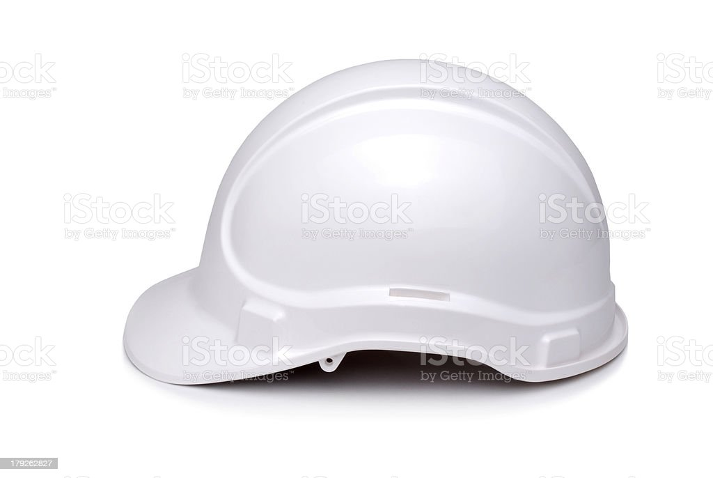 Safety Helmet Hard Hat Hardhat White Side View Cutout stock photo