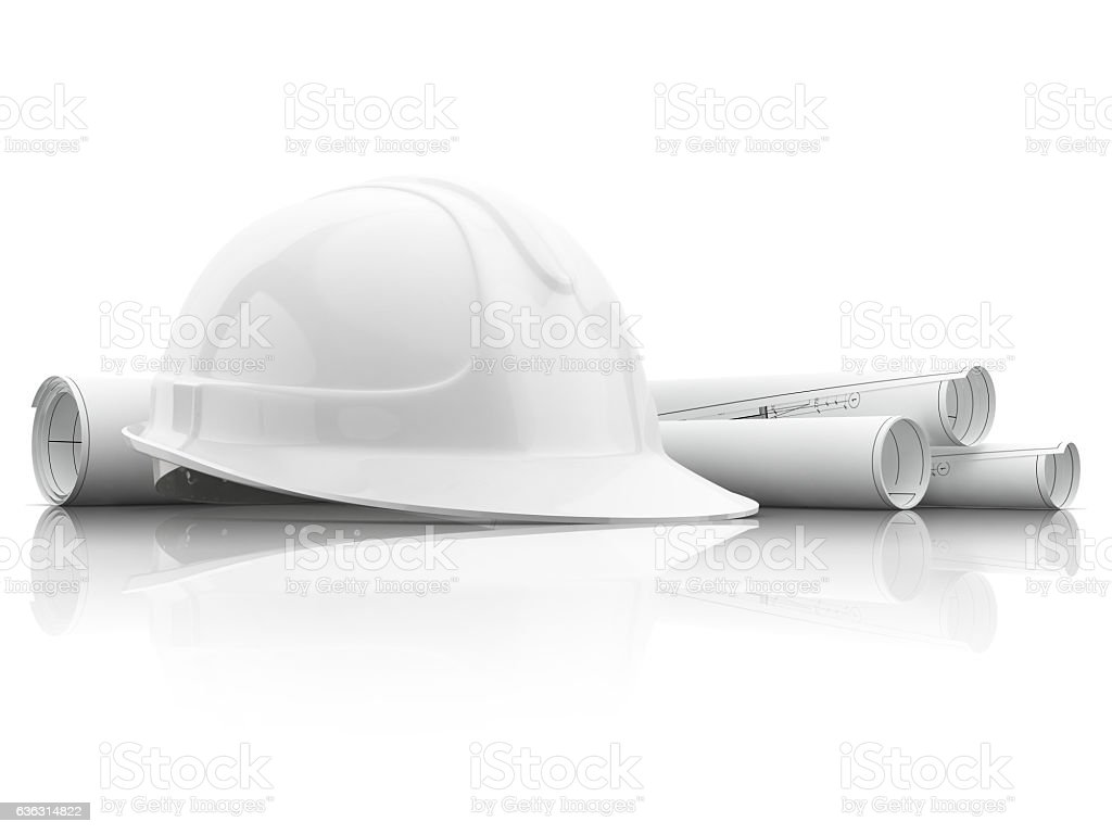 safety helmet of the builder stock photo