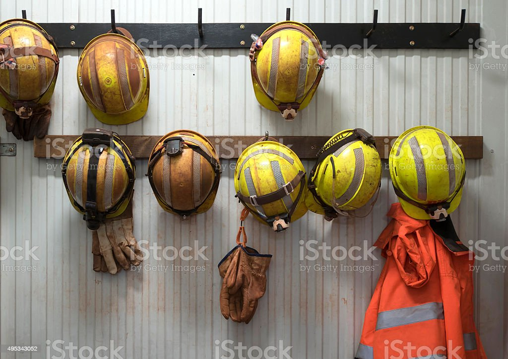 Safety helmets stock photo