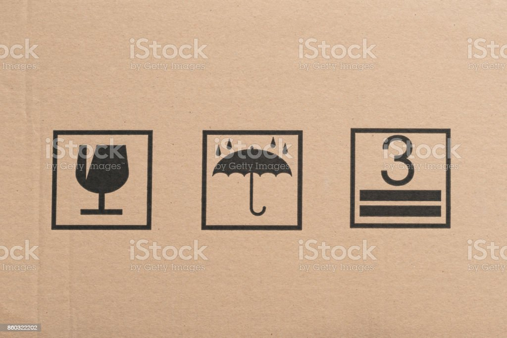 Safety icon on paper box background stock photo
