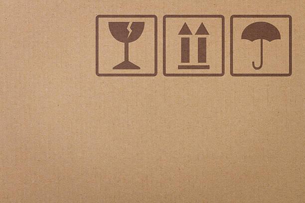 안전 아이콘 은 판지 상자 - 취급 주의 표지판 뉴스 사진 이미지