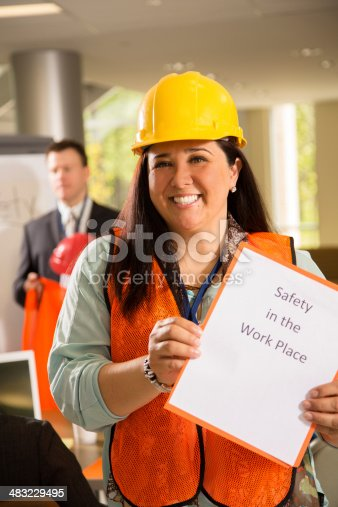 istock Safety in the workplace. Presentation to construction workers. 483229495
