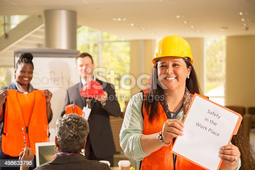 istock Safety in the workplace. Presentation to construction workers. 498633795