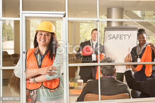 istock Safety in the workplace presentation to construction workers. 638292702