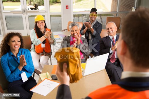 istock Safety in the workplace. Presentation with office workers. 483259553