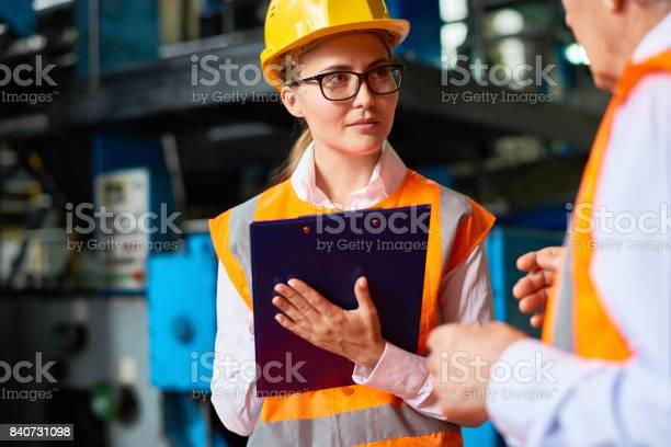 Safety Inspection At Factory Workshop Stock Photo - Download Image Now