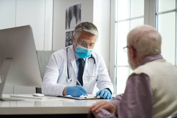 Safety is a top priority during medical check-ups stock photo