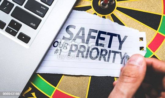 istock Safety is our First Priority written on Arrow in the bullseye 956943166