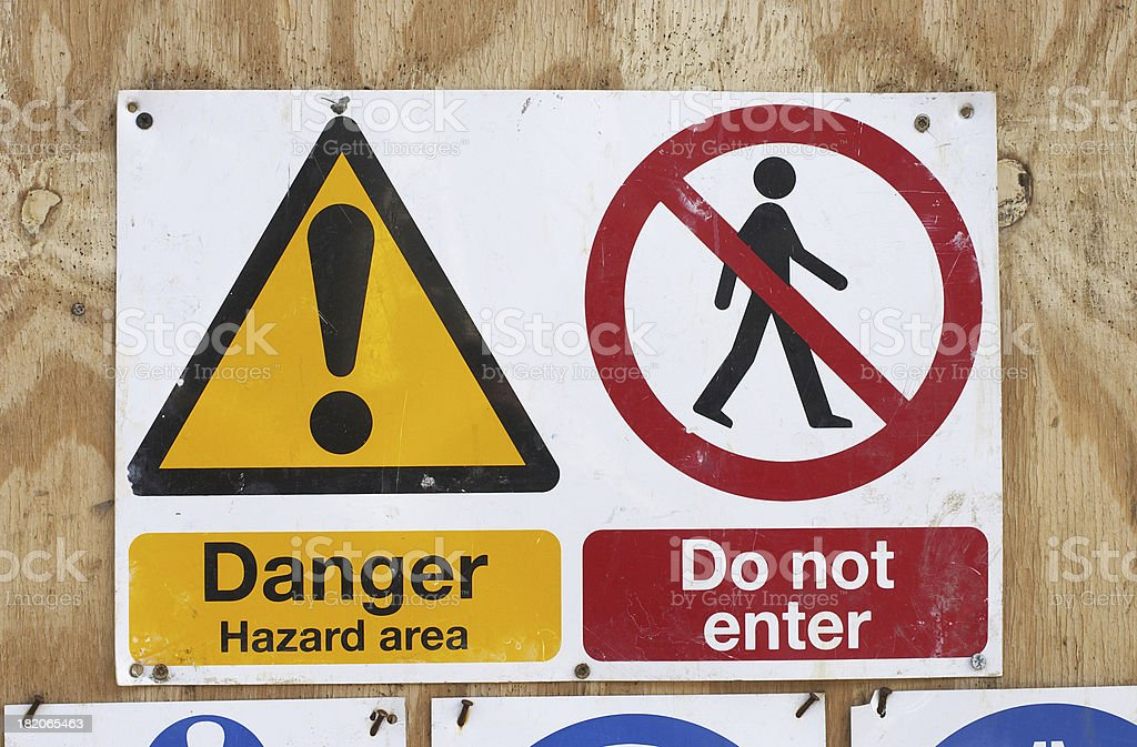 Danger construction site safety notices royalty-free stock photo