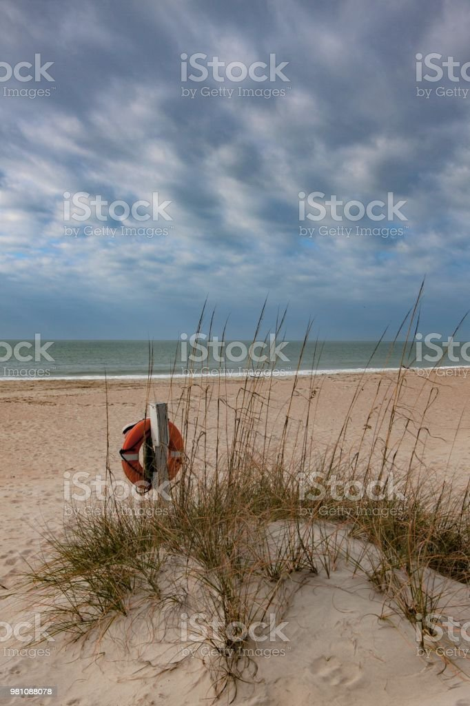 Safety on the beach stock photo