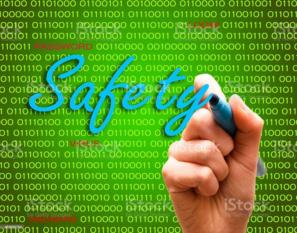 Safety password login virus hackers hand binary text stock photo